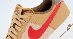 Nike Air Force 1 Low in Jersey Gold/Sport Red-White