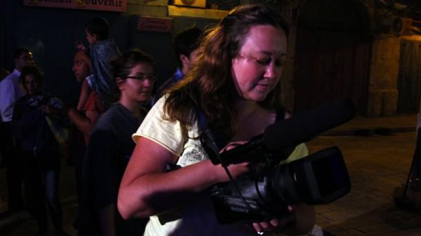 Liz shooting in the Old City, Jerusalem