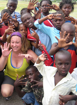 Liz with kids in Haiti